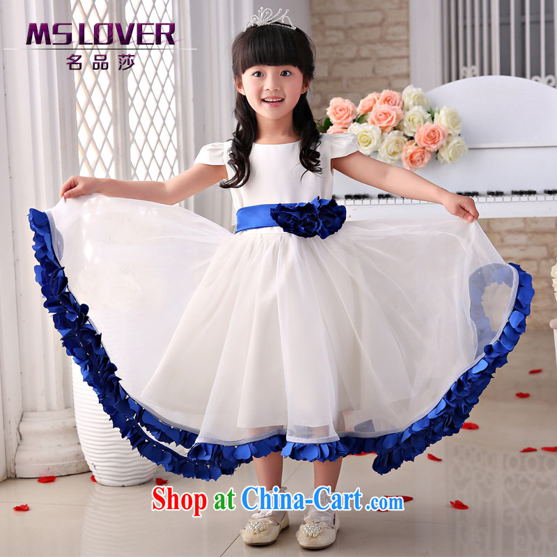 2015 MSLover new flower dress children dance stage dress wedding dress TZ 15058866 blue 14 yards
