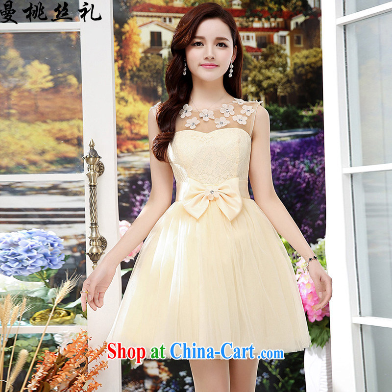 Cayman business, Gift wedding dress girls summer 2015 new bride wedding dress back door toast bridesmaid fitted dresses summer evening dress female apricot XL