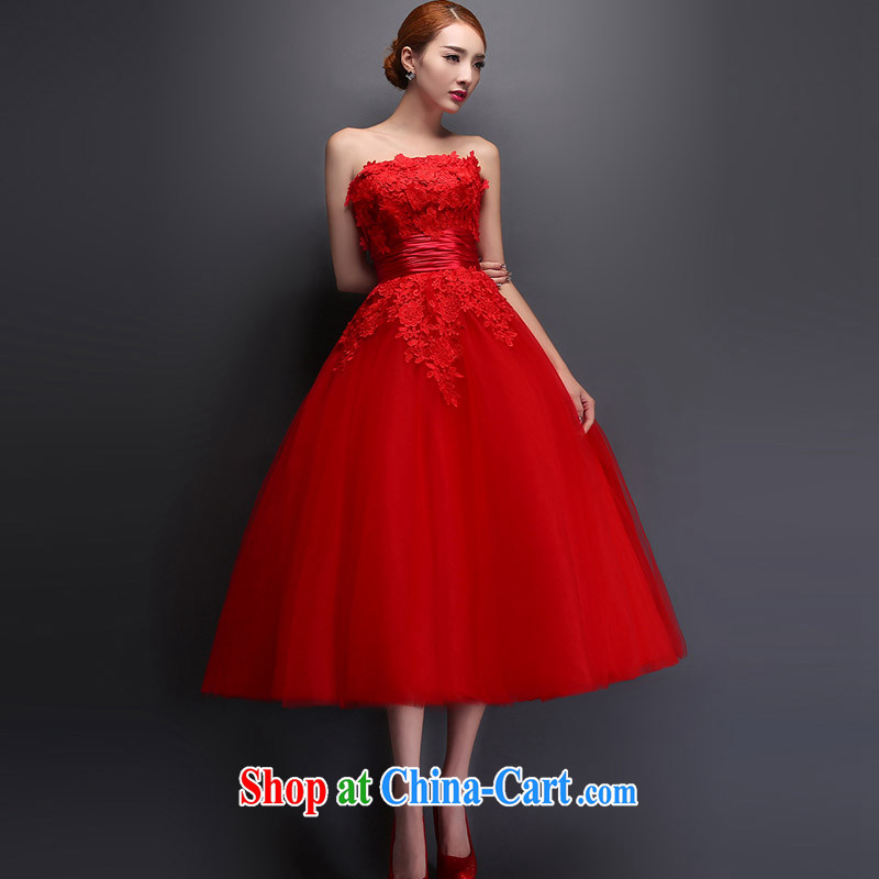 Married Love Mary Magdalene chest wedding dresses new 2015 spring and summer red lace long marriages served toast short evening dress red XXL