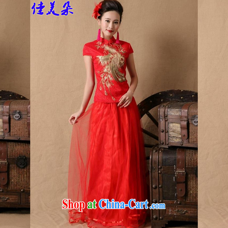 Good flower bride 2015 marriage ceremony cheongsam dress red long bows dress stylish 6648 _red XL