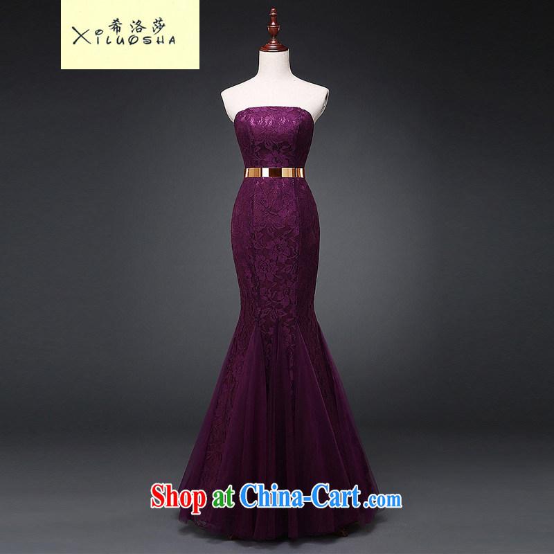 The Greek, Mona Lisa _XILUOSHA_ bridal dresses 2015 new toast clothing stylish evening dress long erase chest crowsfoot beauty wedding dress purple XXL