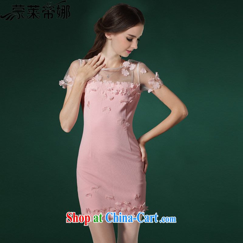 Tony Blair, in Dili, 2015 summer new manual high-end three-dimensional petal beauty dresses small dress 667 pink XL