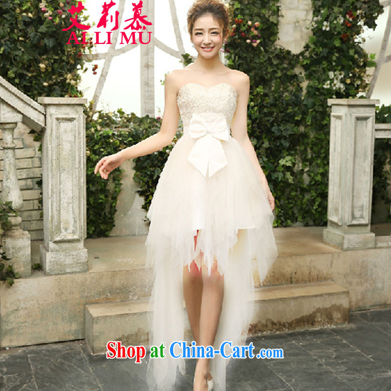 Allie's 2015 new sexy bare chest heavy and shaggy dress serving dinner dress female D R 08 3086 white M