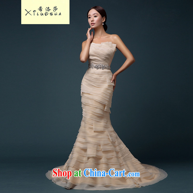 The Greek Cypriot, Mona Lisa (XILUOSHA ) Sau San crowsfoot wedding wiped chest champagne color wedding bridal tail strap wedding 2015 new champagne color XXL