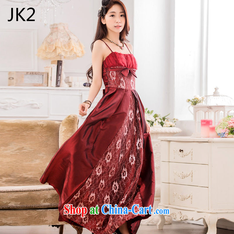 2 JK stylish evening show the large long evening dress code the dress 9734 wine red XXXL
