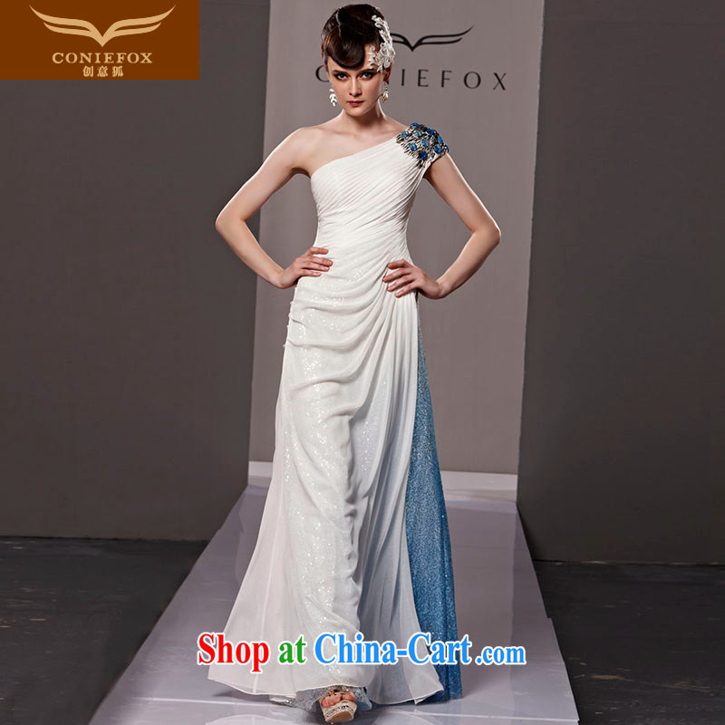 Creative Fox dress elegance, shoulder-length, banquet dress the annual dress Exhibition will stage their ethnic wind dress skirt 81,120 white L