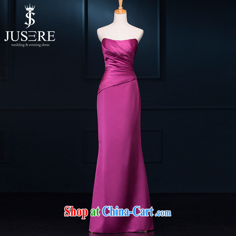It is the JUSERE high-end wedding dresses happy Plum Purple name Yuan toast service dress uniforms serving the hem 100 Beauty Chest bare video thin bare shoulders purple 6