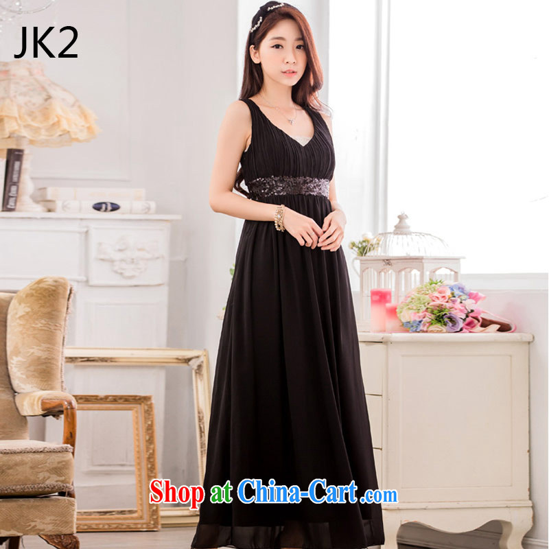 2 JK stylish evening dress nails Pearl bare shoulders the hem long the dress code dress 9635 black XXXL