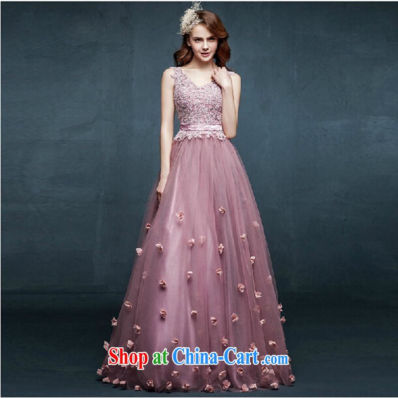 New 2015 spring and summer long dress shoulders marriages served toast diamond jewelry bridesmaid Evening Dress pink tailored contact Customer Service