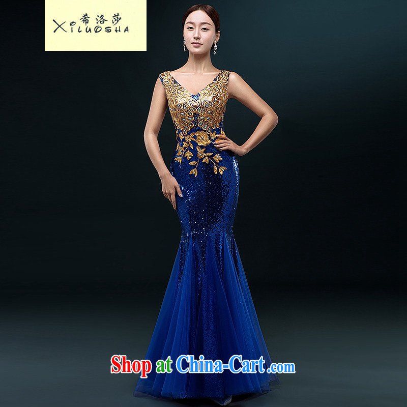 The Greek, Mona Lisa (XILUOSHA) banquet dress 2015 New Long crowsfoot beauty evening dress summer marriages served toast moderator dress blue XXL