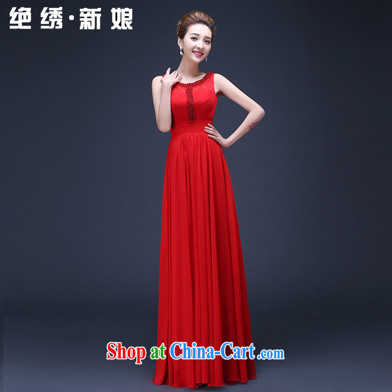 Spring 2015 new Korean Beauty long, large, red, double-shoulder bridal wedding toast annual service evening dress red tailored is not returned.