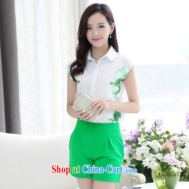 Real-time a summer ritual of female Two-piece with sweet little fresh T-shirt with short sleeves Wide Leg shorts Package Women 1033 white XXL