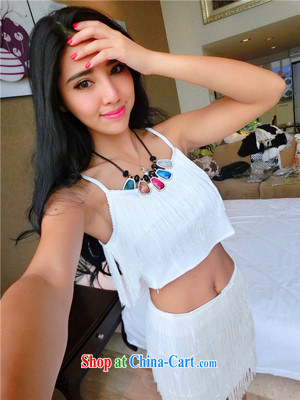 Real-time a summer small-stream, short exposed waist straps T-shirt class, package and two-part kit 0710 white are code