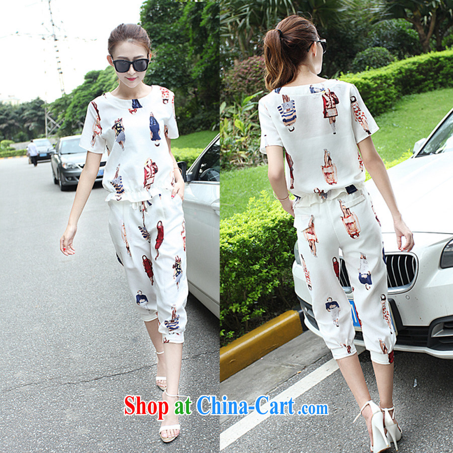 The European site 2015 summer new Europe snow woven stamp 9 pants Leisure package and stylish girl 8027 white XL