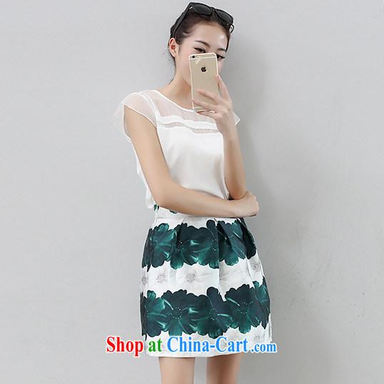 Summer new Korean version Two-piece high-waist dress short-sleeved round-collar Kit shaggy a field dress 9814 white XXL