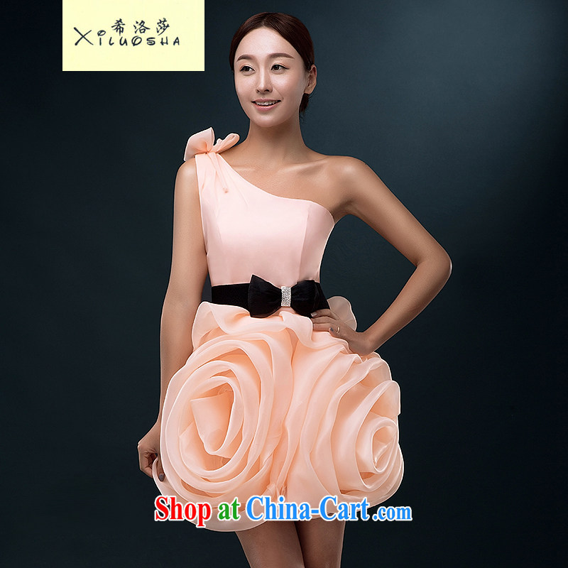 The Greek, Mona Lisa (XILUOSHA) Wedding dress single shoulder bridal toast serving summer short, the wedding dress 2015 new pink bridesmaid dress female meat pink XXL