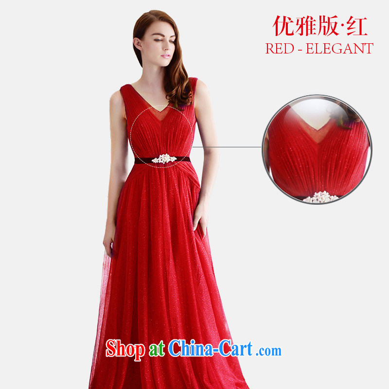 Garden wedding dresses summer 2015 new bride wedding dress V for long-serving toast wedding banquet L 369 red elegant edition tail 30 165 - S