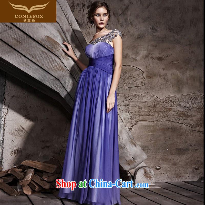 Creative Fox Evening Dress single shoulder and elegant purple dress with shoulder fall long dress theatrical dress Red Carpet dress the dress skirt 81,156 purple XXL