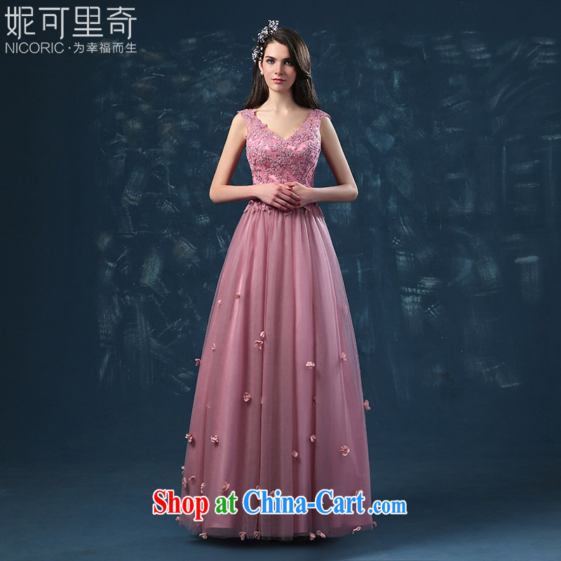 2015 new dual-shoulder V collar floral Evening Dress bridal toast serving long high-end bridesmaid clothing dresses summer pink XXL (graphics thin dress)