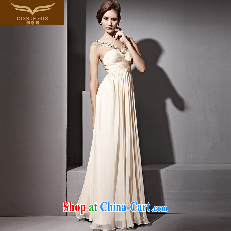 Creative Fox dress stars, elegant minimalist dress stylish sexy bows service model model show dress hospitality service hostess dress 81,128 apricot S
