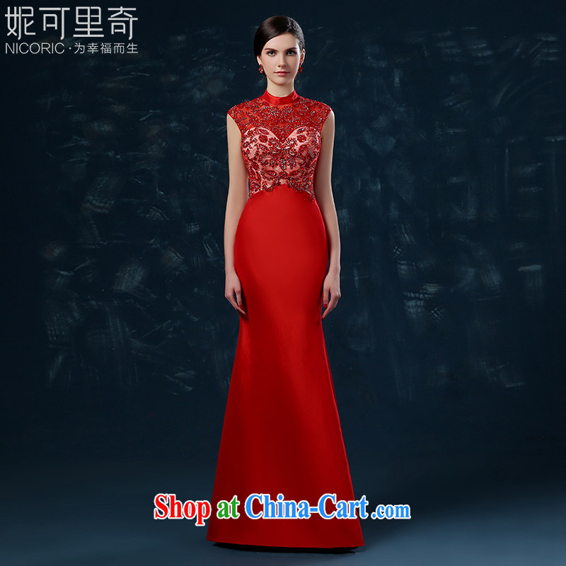 2015 new toast Service Bridal summer long crowsfoot wedding dress beauty banquet dress, collar package shoulder red XXL (graphics thin dress)
