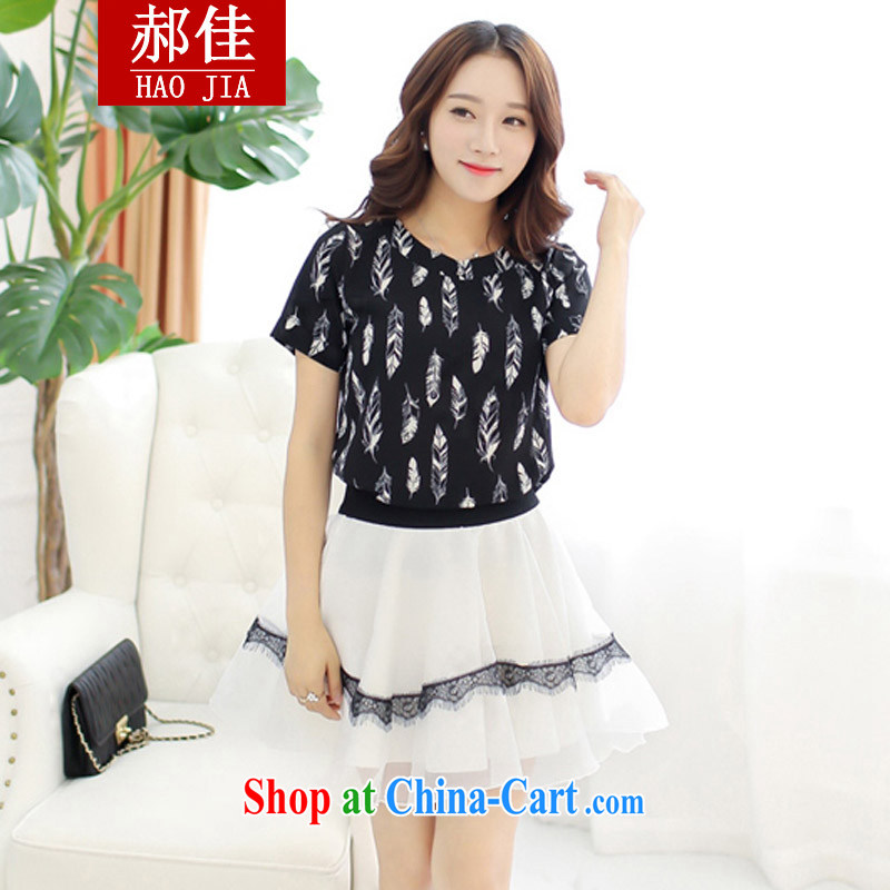Hao better summer feathers stamp lace lace skirt two piece dress skirt Korean video thin stamp dress Kit black XL