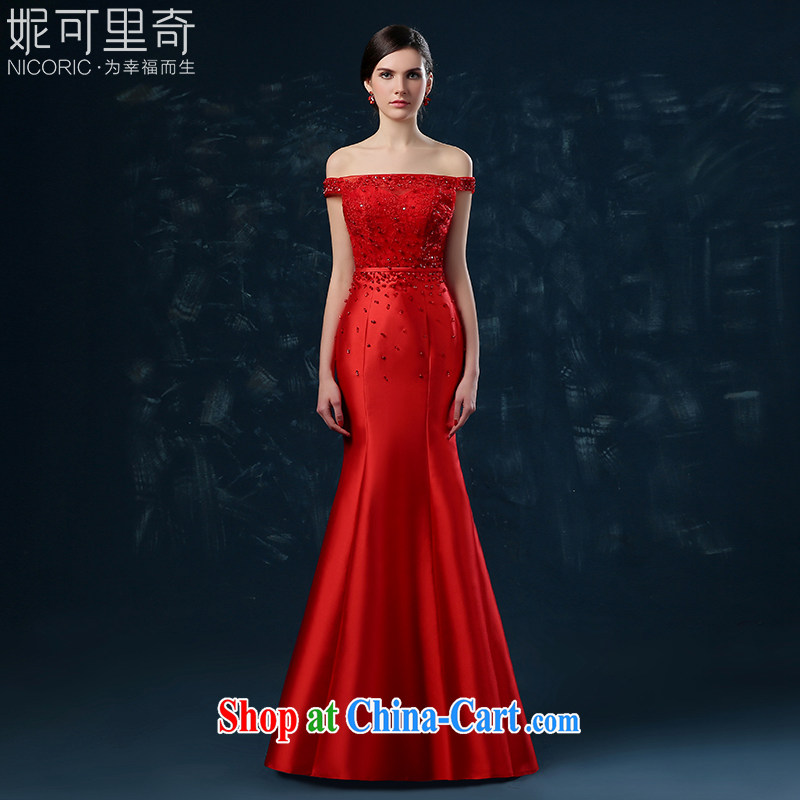 2015 new summer bridal toast serving long-field shoulder-waist crowsfoot banquet dress red wedding dress red XXL (graphics thin dress)