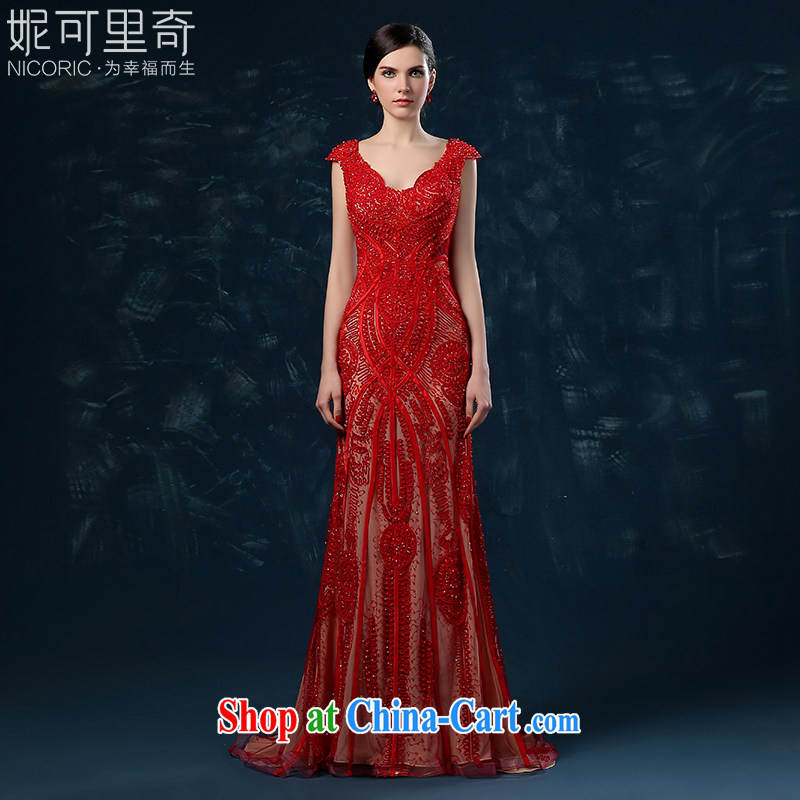 2015 new wedding dresses bridal wedding toast at Merlion serving long dual-shoulder V-neck strap banquet dress red XXL _graphics thin dress_