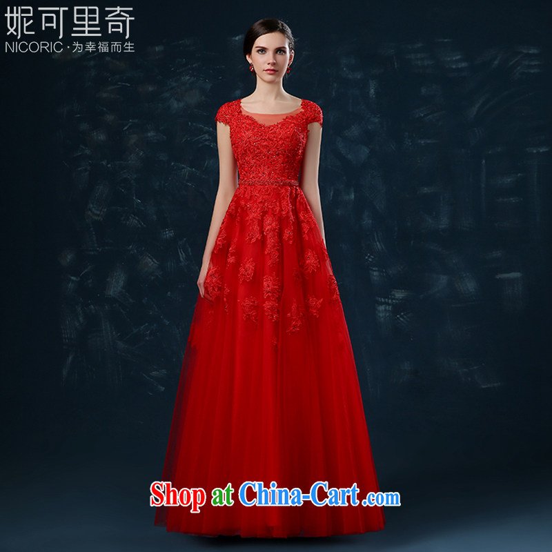 Toasting Service Bridal Fashion 2015 new summer red wedding dress beauty lace long banquet dress female Red XXL _graphics thin dress_