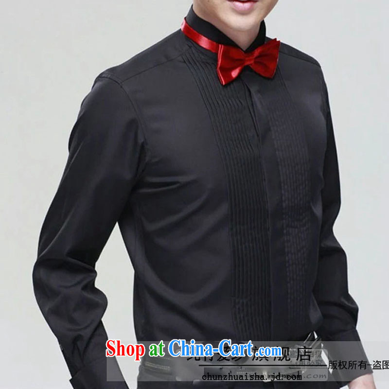 white long-sleeved boys Men show clothing shirt collar shirt male stage choir Cantata clothing black 45