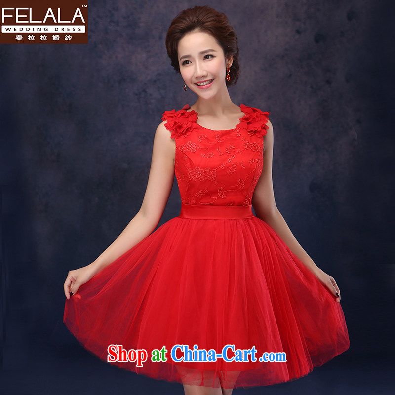 Ferrara Dress 2014 New Red Bridal Short Wedding Toast Clothing Dress  Princess Bridesmaid Dresses Small Red ...