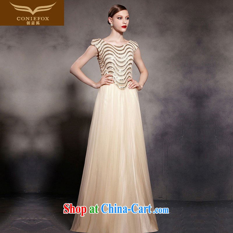 Creative Fox Evening Dress gold foil dress stylish fall dress the Show dress and elegant style banquet dress long skirt 30,553 picture color XXL
