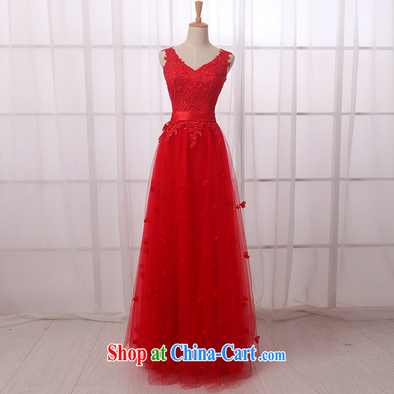 Code hang bridal dresses 2015 new V collar double-shoulder flowers dress wedding toast clothing long dresses summer red long XXXL