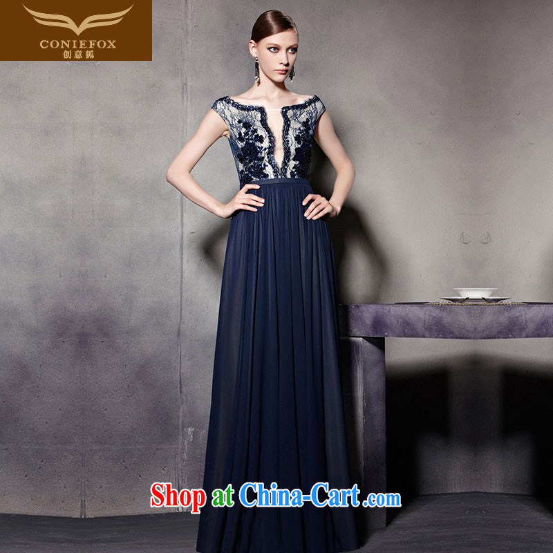 Creative Fox Evening Dress blue floral double-shoulder, Evening Dress evening dress uniform toast the shoulder fall dress appearances dress courtesy service 30,525 picture color XXL