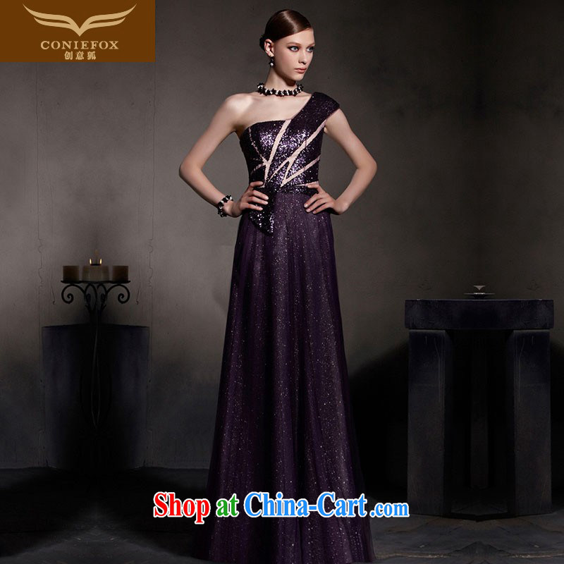 Creative Fox Evening Dress new dream purple evening dress single shoulder fall dress evening dress uniform toast high waist graphics thin dress the dress skirt 30,515 picture color XXL