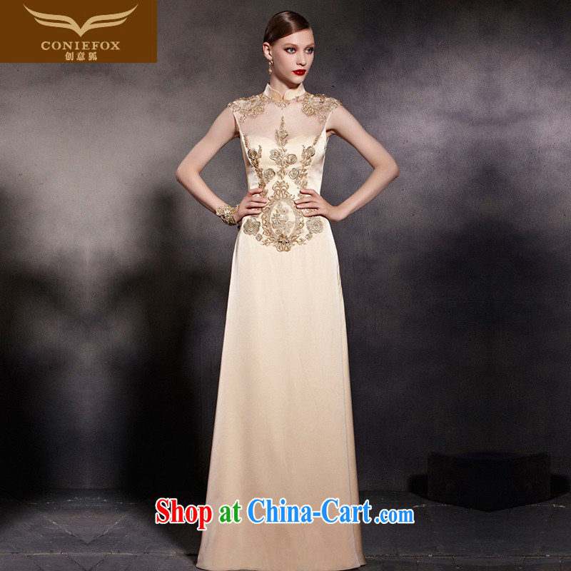 Creative Fox Evening Dress New Gold cheongsam dress Evening Dress toast clothing retro fall to dress the annual concert dress welcome serving 81,898 picture color XXL