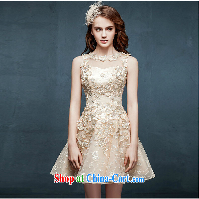 Pure bamboo yarn love 2015 new languages empty bridesmaid dresses clothing summer short sister dress bridal toast serving champagne color S