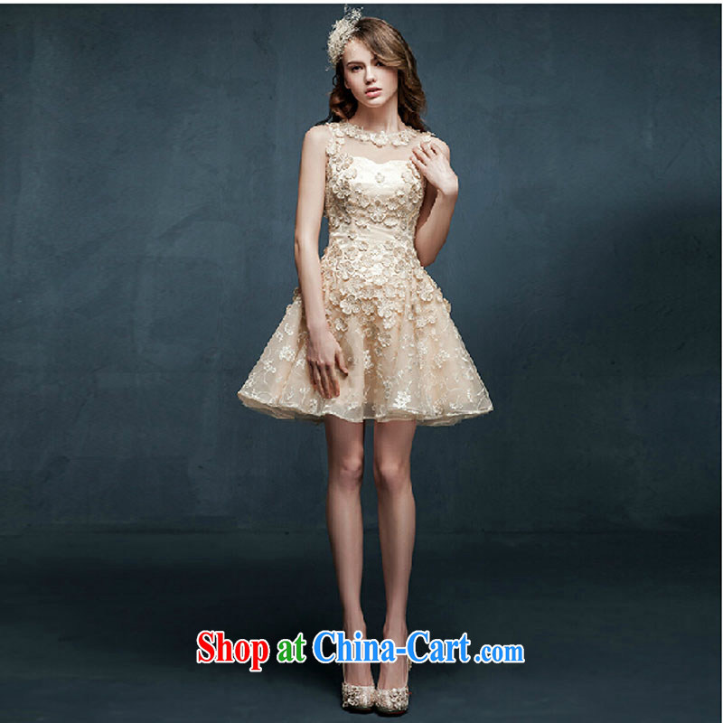 Pure bamboo yarn love 2015 new languages empty bridesmaid dresses clothing summer short, sister dress bridal toast serving champagne color S, pure bamboo love yarn, shopping on the Internet
