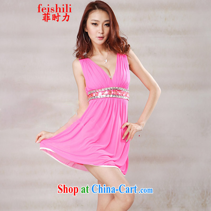 When competitiveness 2015 fashion sense of beauty back exposed V for small swing dresses XJM - 5 FZE 082, 1310 rose red are code