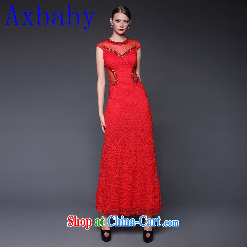Europe Axbaby 2015 new summer lace nails pearl cultivation, qipao dress dresses W 0389 red are code