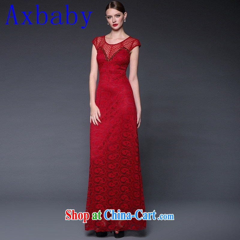 Axbaby 2015 summer new Lace Embroidery spell took over the nail Pearl elegance long dress dresses W 0211 red are code