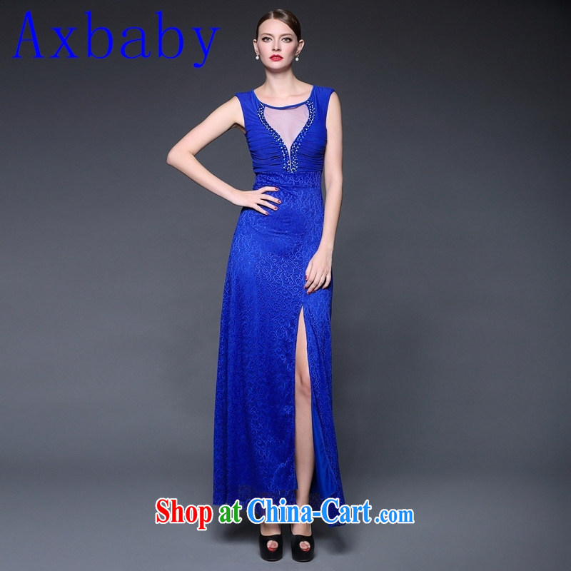 Axbaby summer 2015 New Products lace spell took over the nail Pearl Web yarn micro perspective dress dresses W 0215 blue are code
