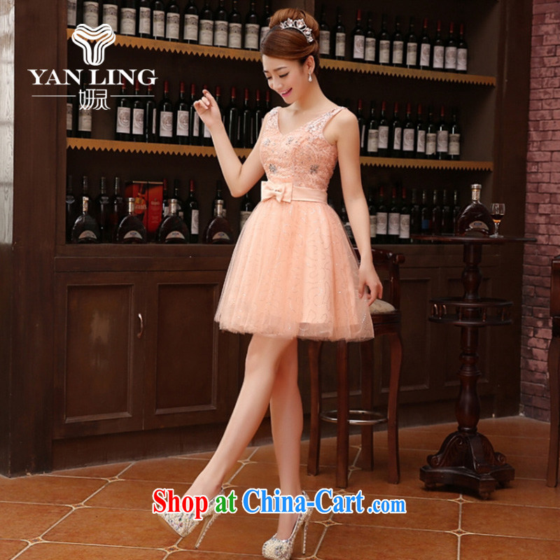 Her spirit marriage wedding dresses short bridesmaid mission the marriage tie short Evening Dress wedding dress small champagne color L