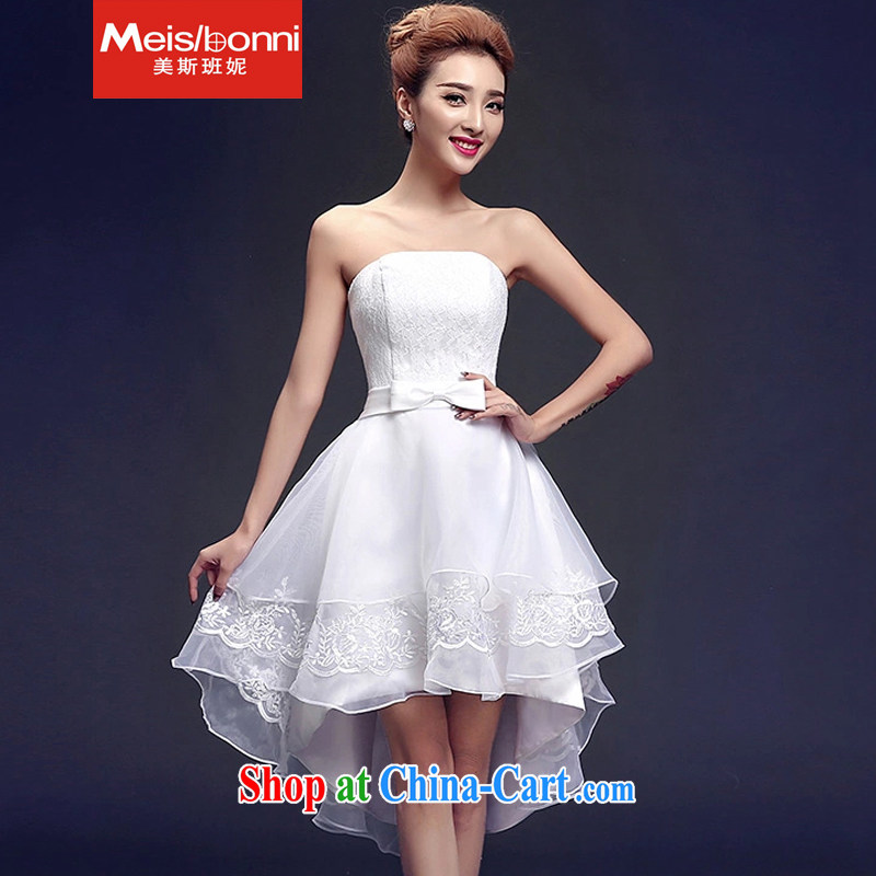 The US, in 2015 her sense of luxury to the lace-Front short long evening dress Evening Dress banquet service dress 5 CLY white L