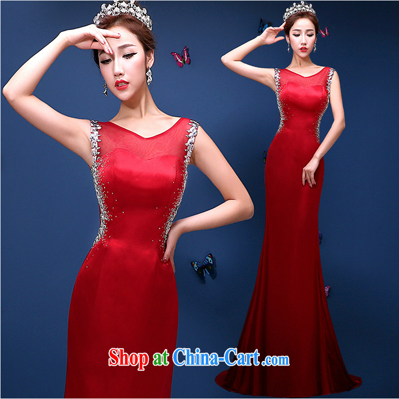 White first to approximately 2015 spring and summer new bridal wedding dresses toast serving long-tail end crowsfoot cultivating graphics thin dress dark red tailored contact Customer Service