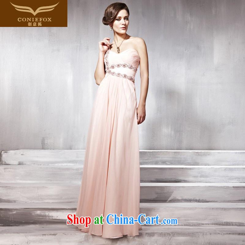 Creative Fox dress pink single shoulder bridal wedding dresses wedding toast serving elegant long banquet dress long skirt concert hosted service 56,869 pink L