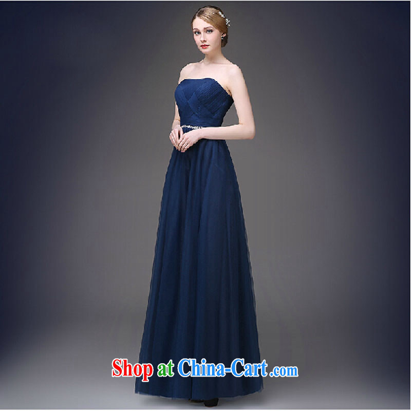 Evening Dress 2015 New American Korean dress spring and summer banquet toast bridal moderator long dress girls dark blue tailored contact Customer Service