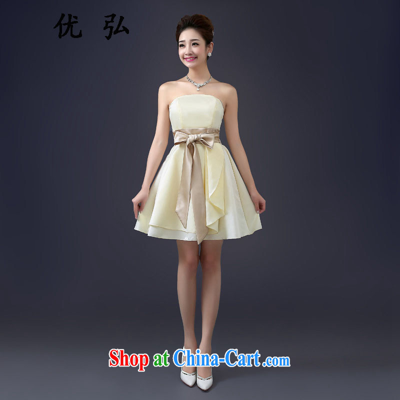 Optimized performance-gathering small dress 2015 new bridesmaid serving short spring and summer evening dress sister dress MZ 2100 champagne color code