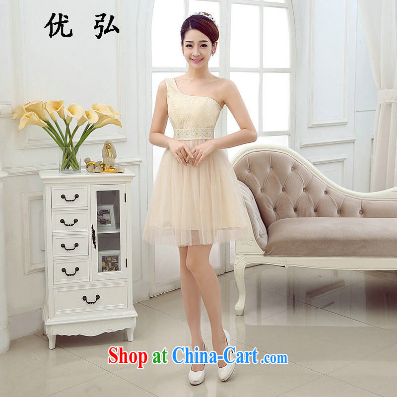 Optimize video New Beauty video thin bridesmaid dress short dinner bridesmaid serving the shoulder evening dress MZ 2003 champagne color code