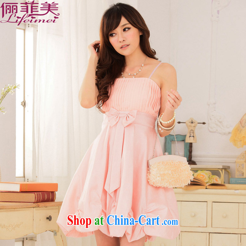 The package on the Korean edition summer hanging with only the US Princess chest folds down the back the code lantern skirt small dress dresses pink XXXL